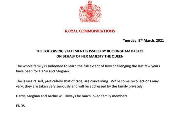 Букингемский дворец ответил на слова Меган Маркл о расизме