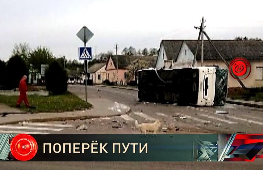 ДТП в Свислочском районе: рейсовый автобус с пассажирами перевернулся на бок