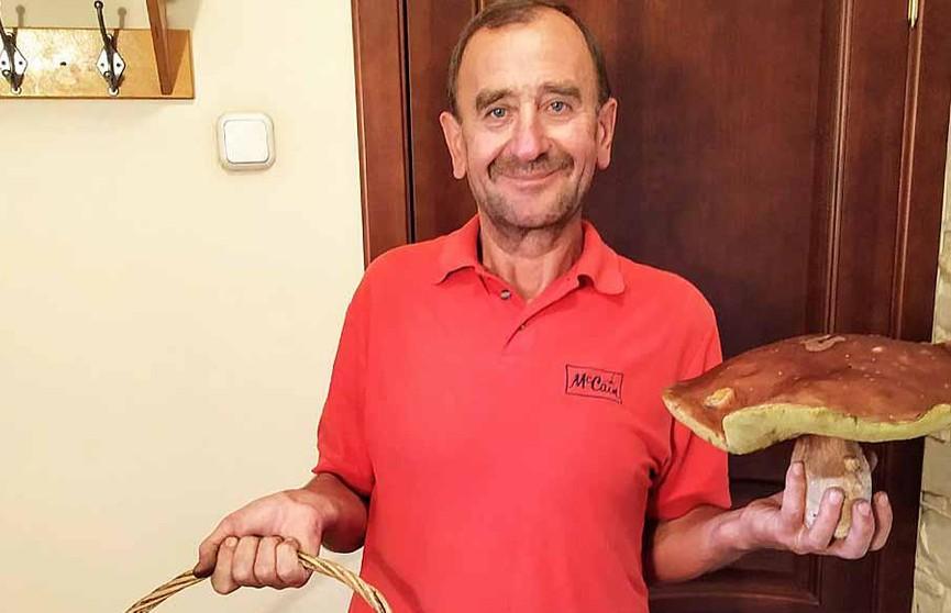 Фотофакт: житель Щучина нашел в лесу килограммовый боровик