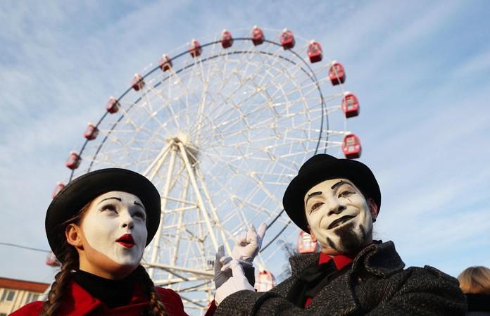 В День влюблённых в Гродно запустили колесо обозрения