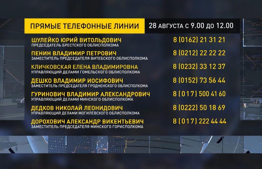 Прямые телефонные линии провели в администрациях области и столицы