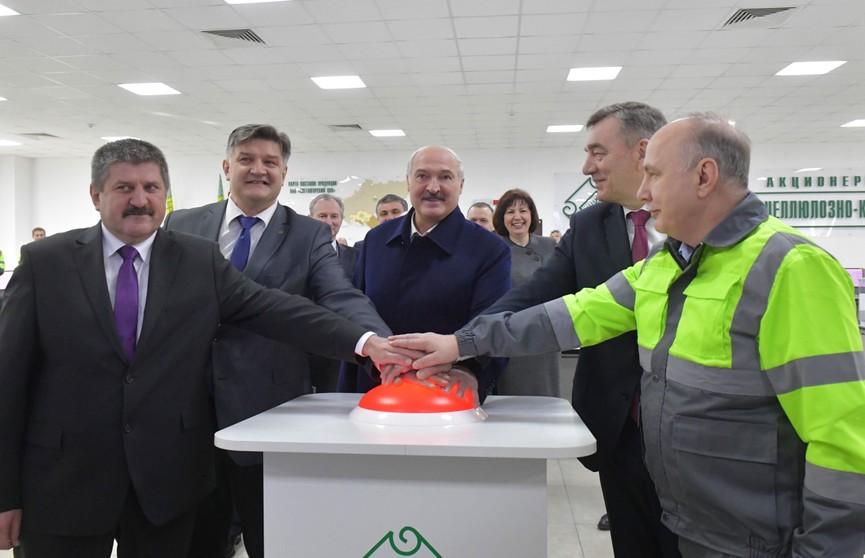 Президент осуществил символический пуск производства сульфатной беленой целлюлозы на Светлогорском ЦКК