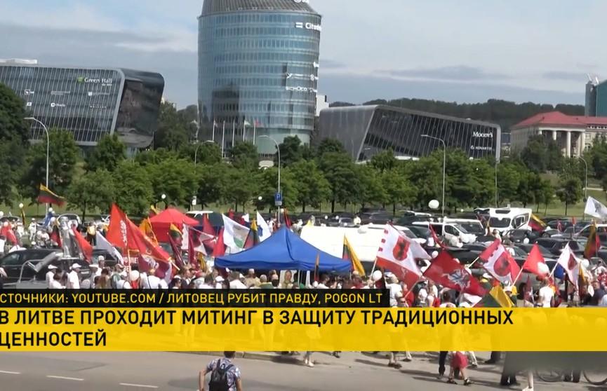 Литовцы протестуют возле здания правительства в Вильнюсе и проводят митинги в защиту традиционной семьи