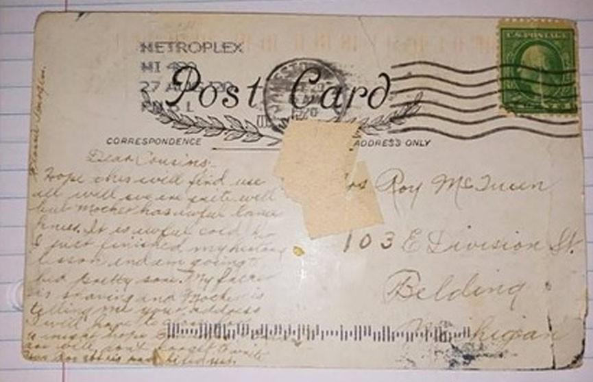 Женщина получила отправленную 100 лет назад открытку