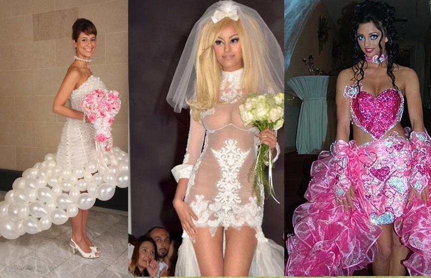 Это точно позор! 10 самых безвкусных свадебных платьев невест