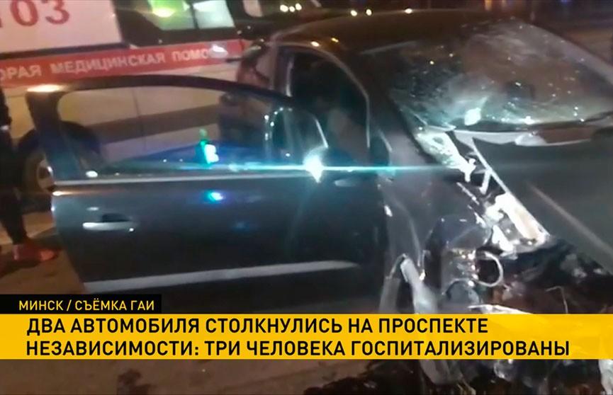 Две легковушки столкнулись в Минске: есть пострадавшие