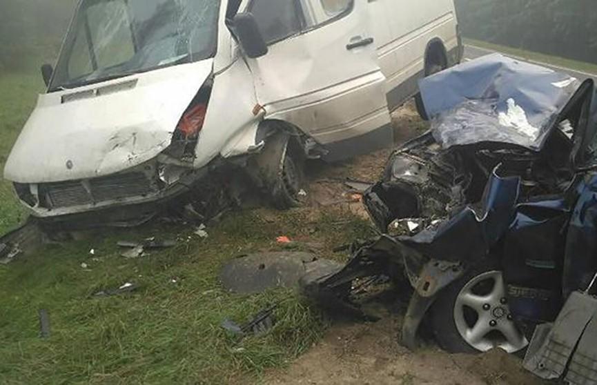 Легковушка и микроавтобус столкнулись в Мядельском районе, пострадала школьница