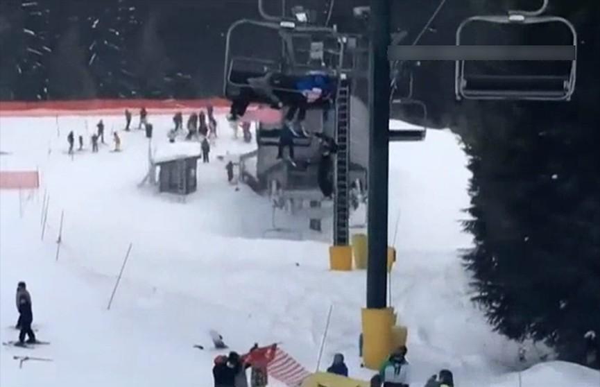 Очевидцы запечатлели спасение ребёнка на горнолыжном курорте