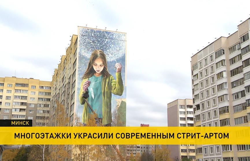 Многоэтажки Минска стали украшать современным стрит-артом