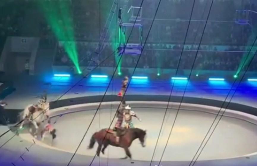 Акробат упал под копыта лошади в московском цирке (Видео)