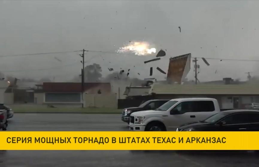 Серия мощных торнадо пронеслась по штатам Техас и Арканзас