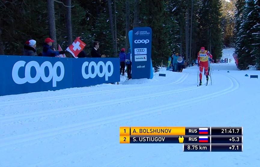 Россиянин Александр Большунов выиграл гонку преследования и возглавил общий зачет «Тур де Ски»