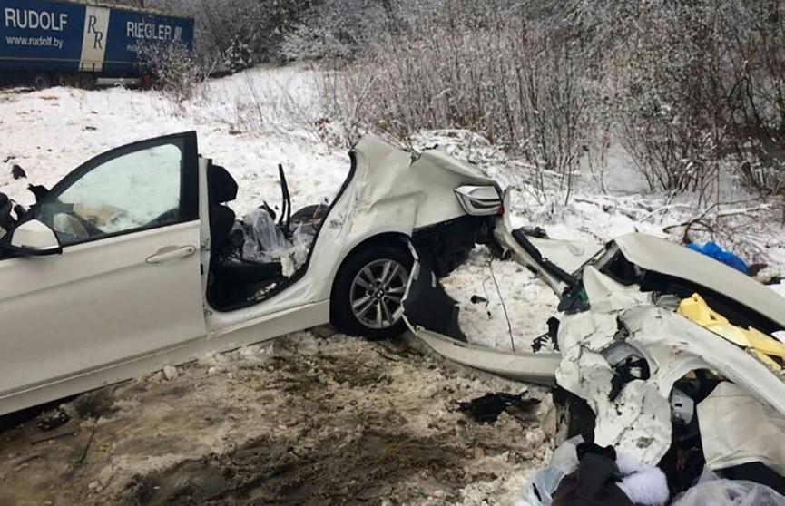 BMW столкнулась с фурой в Крупском районе