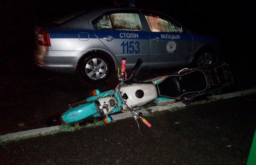 Антирекорд: мотоциклист-бесправник с 4,8 промилле пытался скрыться от ГАИ в Столинском районе