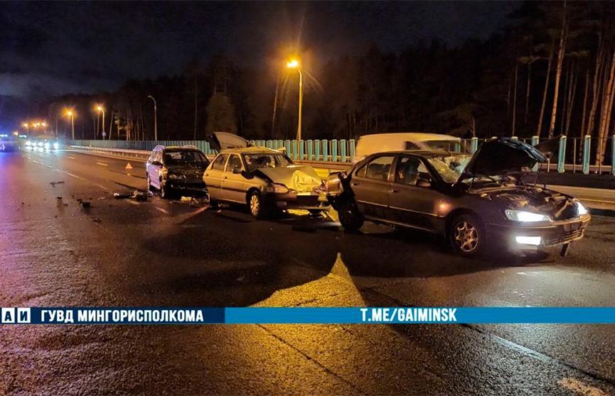ДТП с учетом трех легковушек и пешехода произошло на МКАД