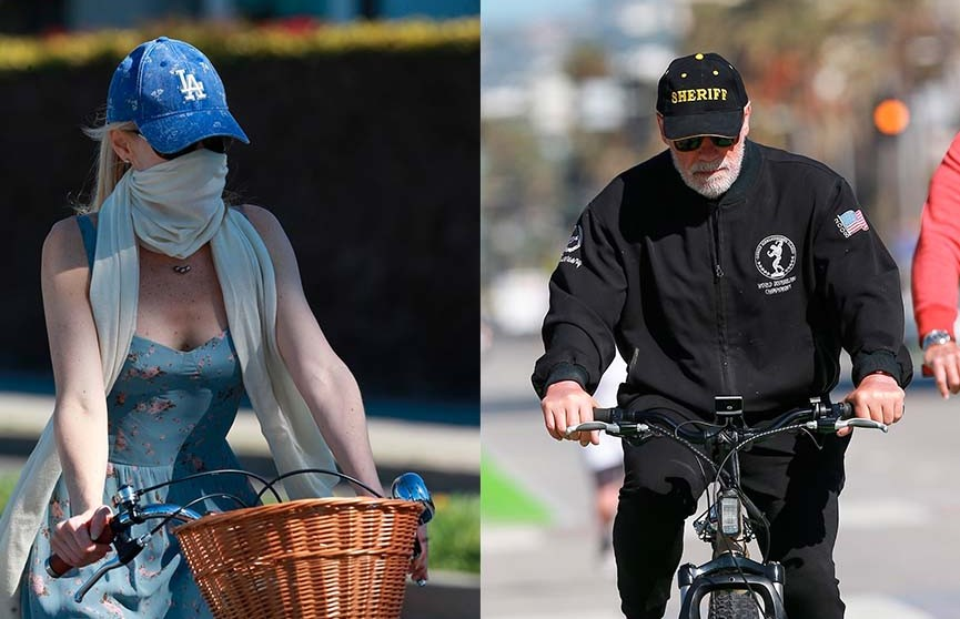 Фотофакт: девушка 72-летнего Шварценеггера вышла с ним на прогулку