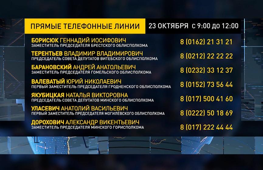 Прямые линии 23 октября проходят в областных и Минской администрации