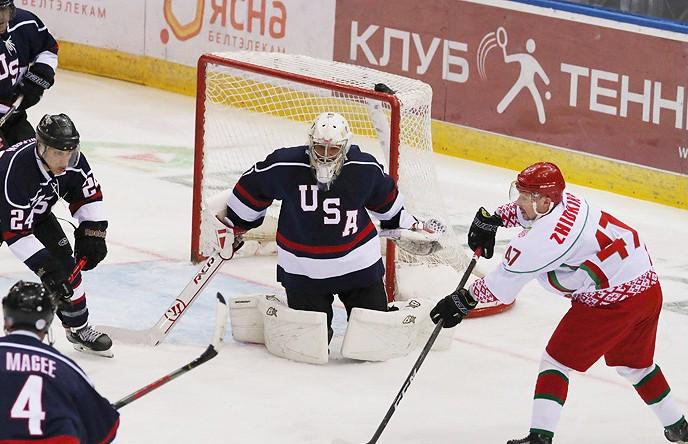 Команда Президента Беларуси победила хоккеистов из США и прошла в 1/2 финала Рождественского турнира в Минске