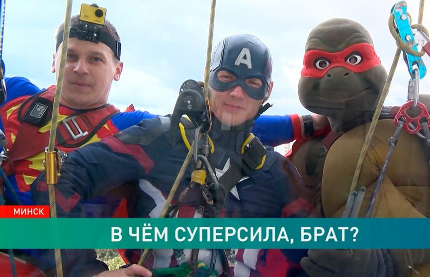 Добрые «супергерои»: как энтузиасты в костюмах вымыли окна в РНПЦ детской хирургии