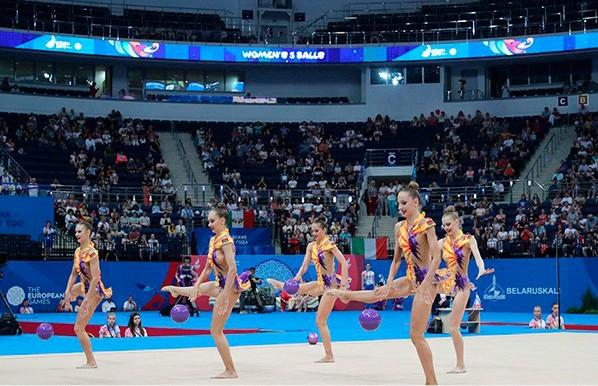 Белорусские гимнастки заняли третье место в групповых упражнениях с пятью мячами на II Европейских играх