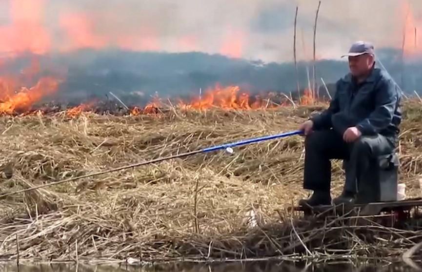 Щебет весенних птиц, невозмутимый рыбак и стена огня за его спиной.  С приходом весны учащаются очаги возгорания по всей стране