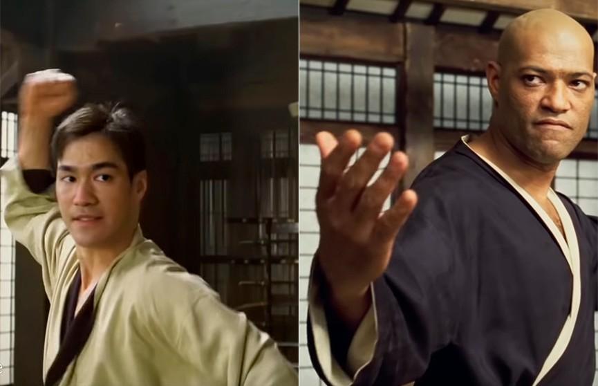 Брюс Ли вместо Киану. Сцена битвы из фильма «Матрица»