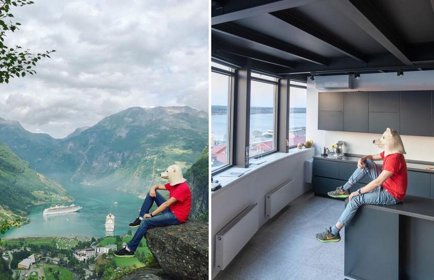 Блогер воссоздал свои фото и показал, как путешествует, не выходя из дома