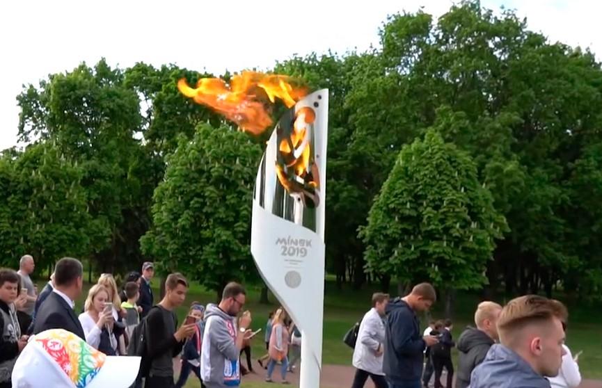 Ведущей ОНТ Ольге Куришко выпала почётная миссия пронести факел II Европейских игр в Гродненской области