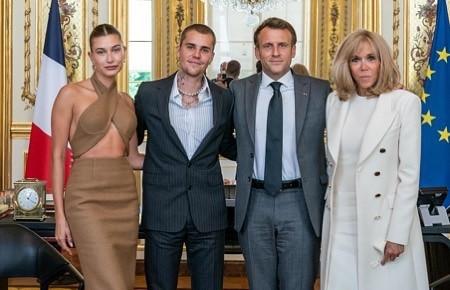 Джастин и Хейли Бибер встретились с президентом Франции Эммануэлем Макроном