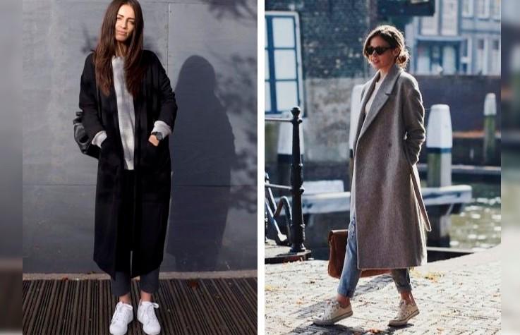 Как носить пальто с кроссовками: 7 советов на каждый день