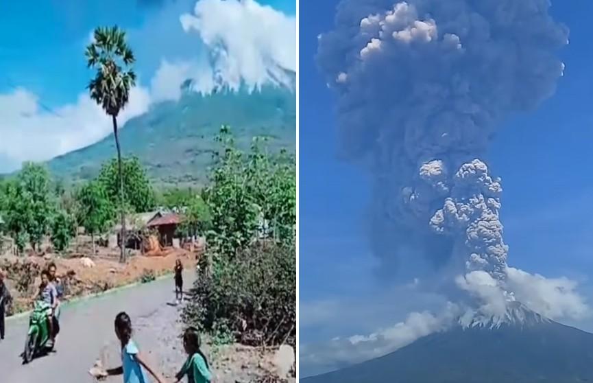 Сильное извержение вулкана в Индонезии попало на видео