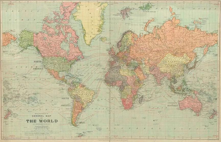 Карта мира 1922 года с несуществующими странами удивила соцсети