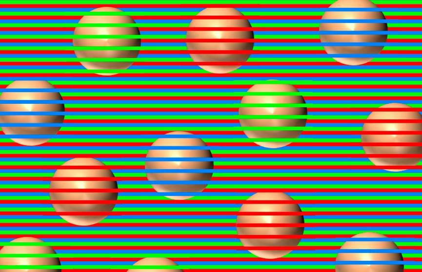 Новая оптическая иллюзия: разноцветные шарики становятся одного цвета