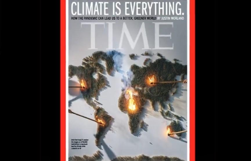 Для новой обложки Time о климатических изменениях художники подожгли на карте мира 50 тысяч спичек