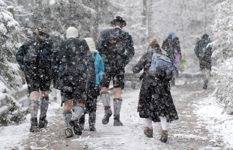 Горные районы Германии замело снегом