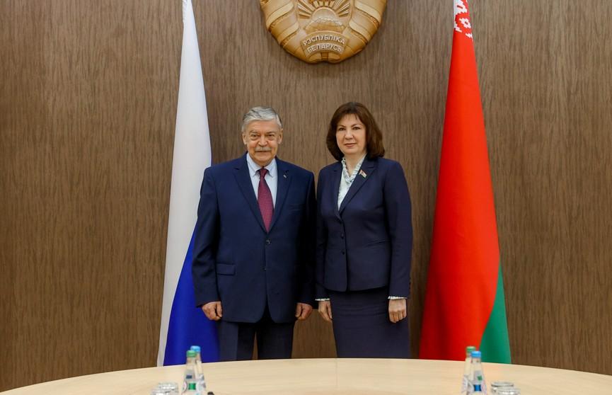 Наталья Кочанова встретилась с послом России в Беларуси Евгением Лукьяновым