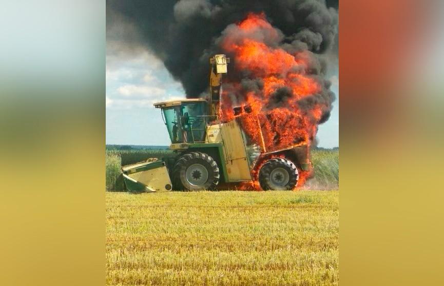 Комбайн сгорел в поле под Рогачёвом