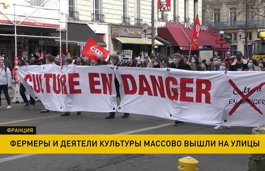 Во Франции фермеры и деятели культуры, недовольные политикой властей, массово вышли на улицы
