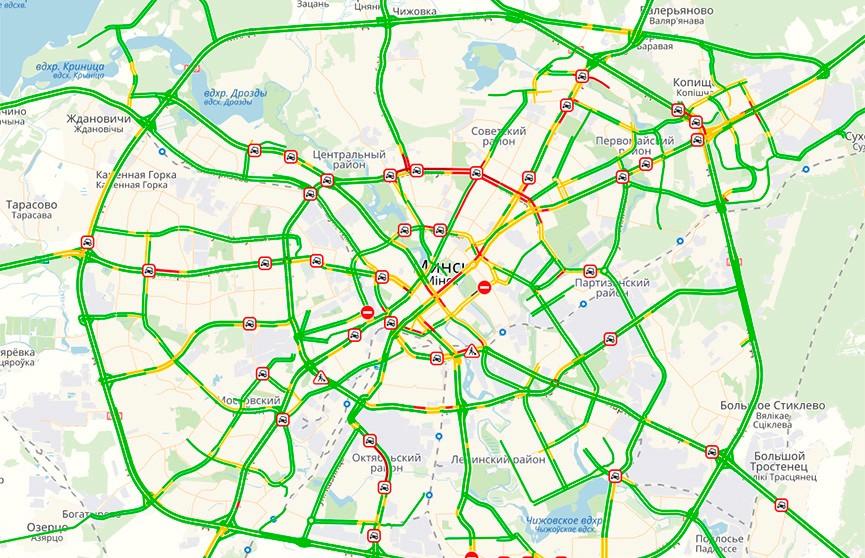 Девятибалльные пробки наблюдаются в Минске