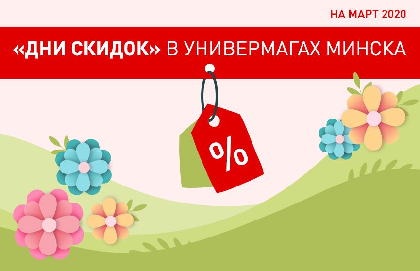 Скидки в универмагах Минска в марте 2020 года