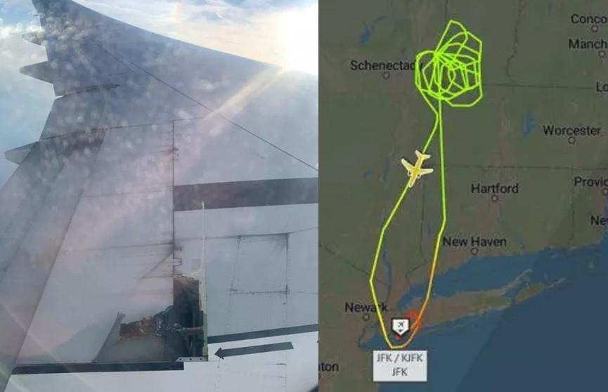 Китайский лайнер Boeing-777 вынужденно вернулся в Нью-Йорк из-за отвалившейся детали крыла