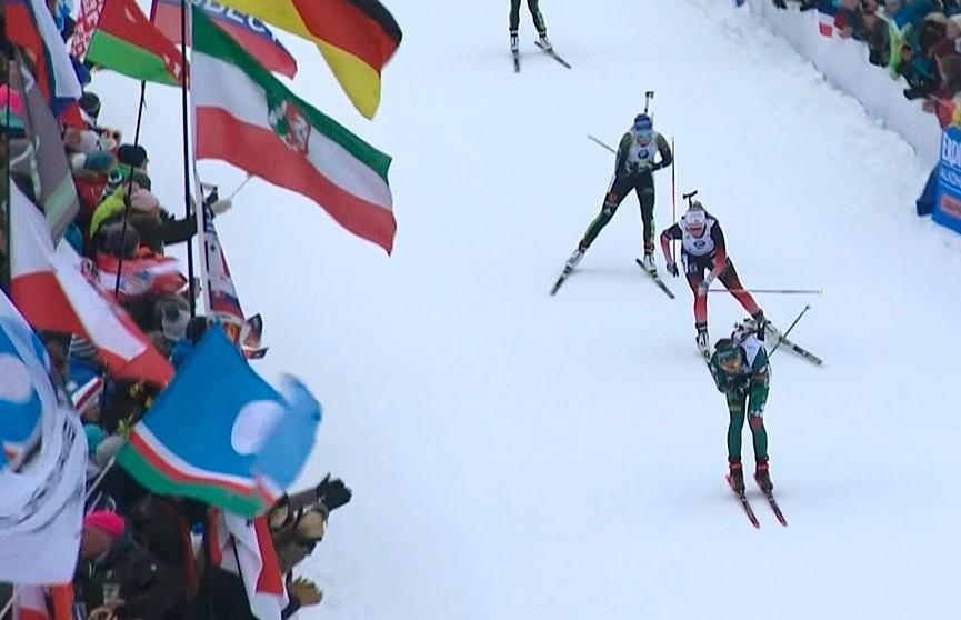 Ирина Кривко стартует в спринте на Кубке мира по биатлону в Антхольце