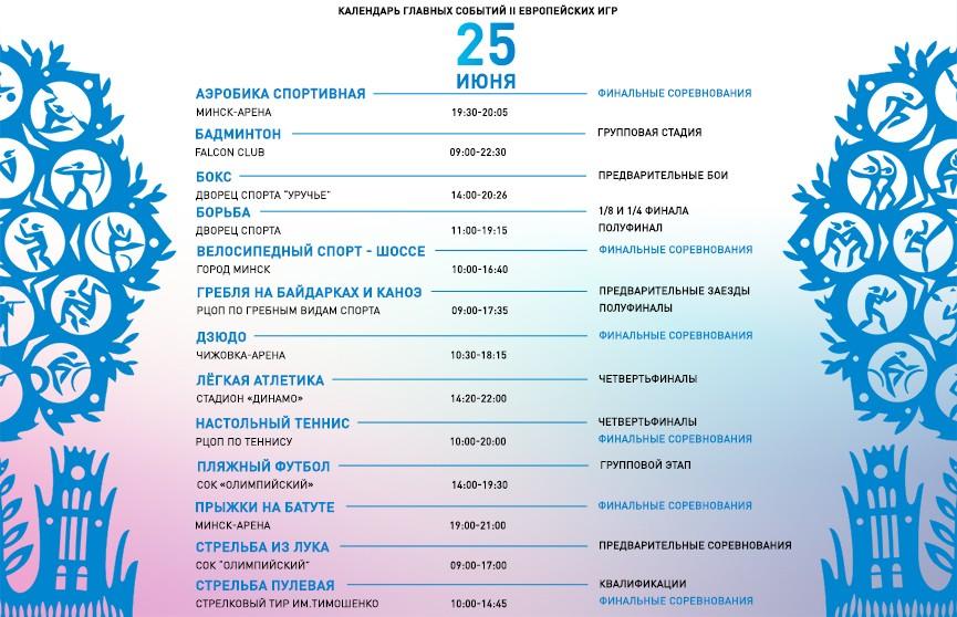 II Европейские игры: календарь главных событий дня - 25 июня
