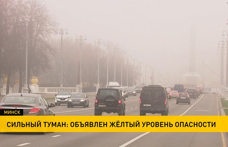 Густой туман накрыл Минск