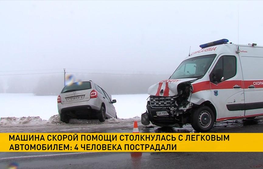 Лобовое столкновение легковушки и машины скорой помощи под Мозырем попало на видео