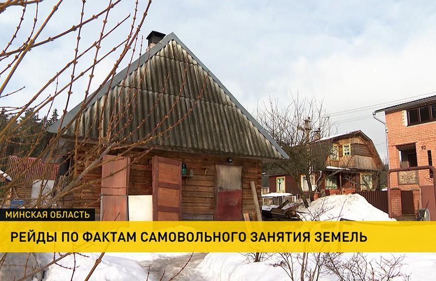 КГК проводит рейд по участкам в деревнях и дачных кооперативах, где люди незаконно возводят постройки