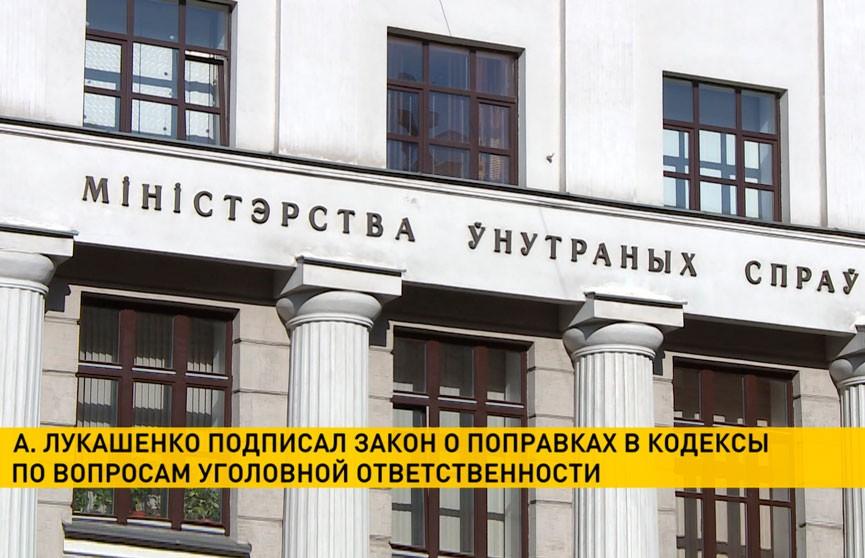 Лукашенко подписал закон о поправках  в кодексы по вопросам уголовной ответственности