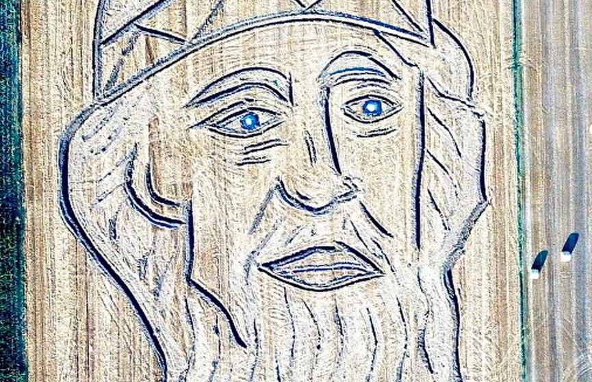 Фотофакт: итальянец трактором нарисовал на поле портрет князя Владимира