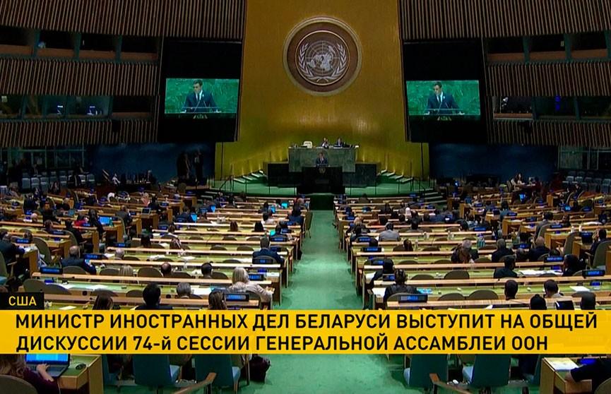 Министр иностранных дел Беларуси выступит на 74-й сессии Генассамблеи ООН