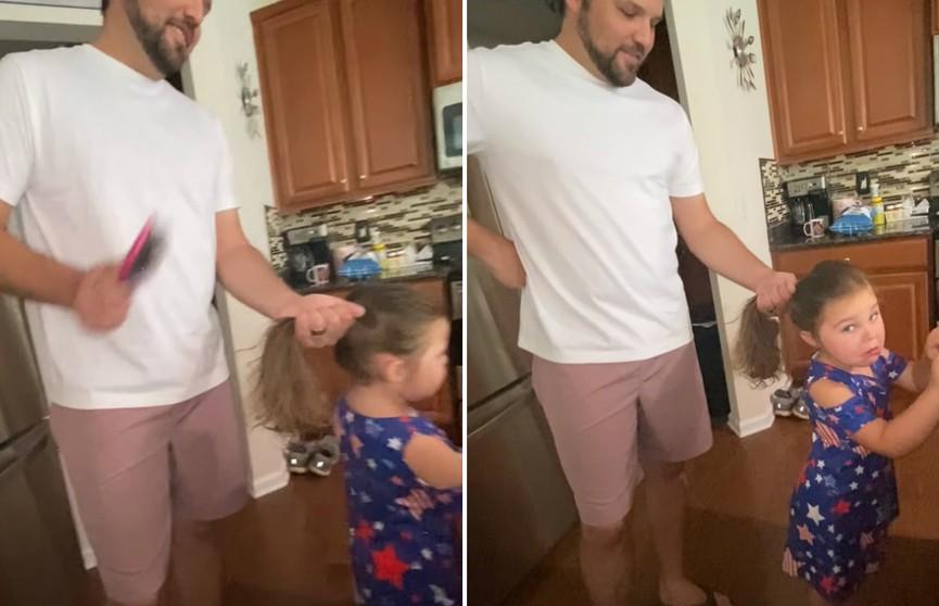 «Королева драмы»: девочка излишне драматизирует, пока отец «расчесывает» ей волосы (ВИДЕО)